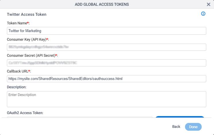 Twitter Access Token Configuration screen
