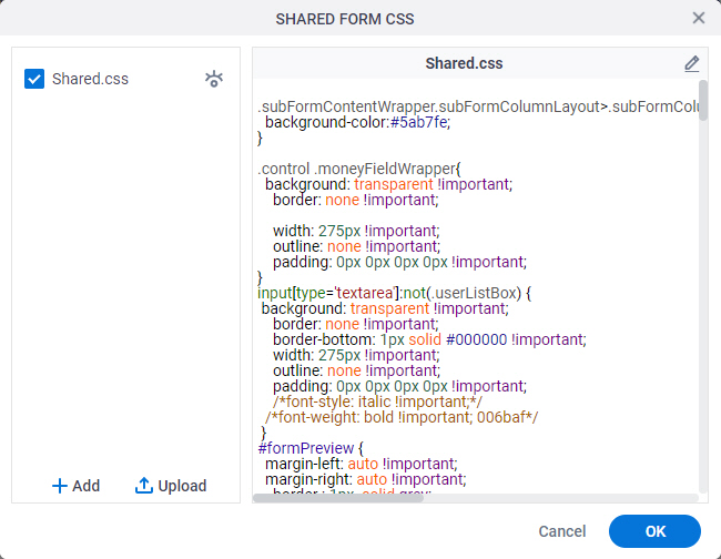 Shared Form CSS Screen