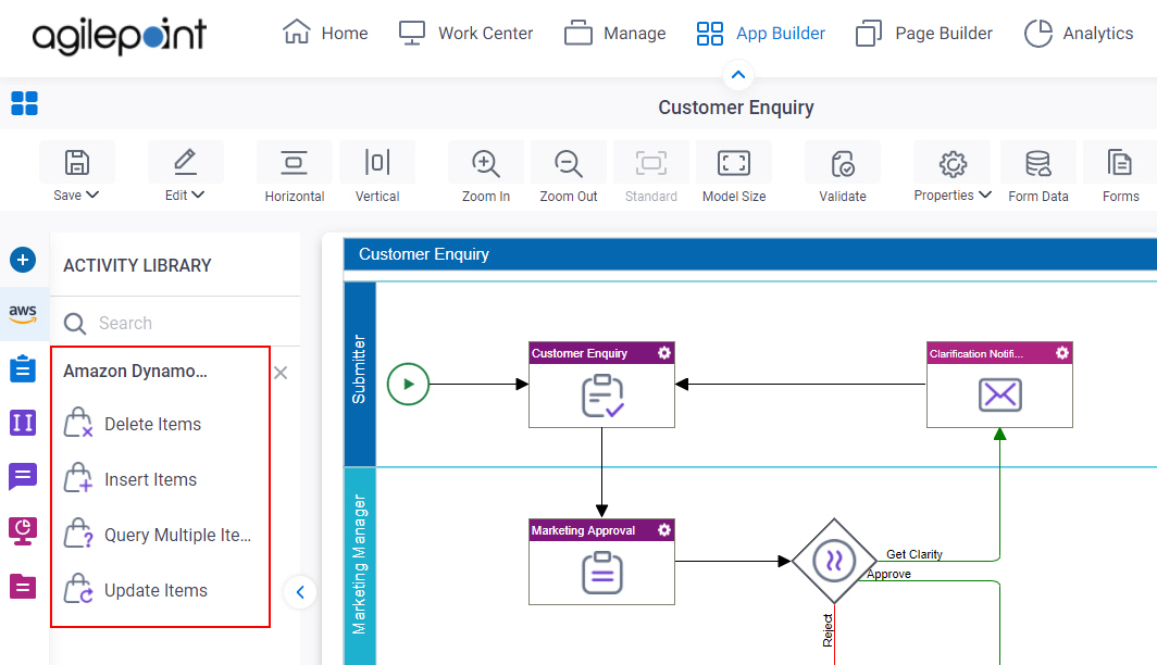 Process Activities for Amazon DynamoDB