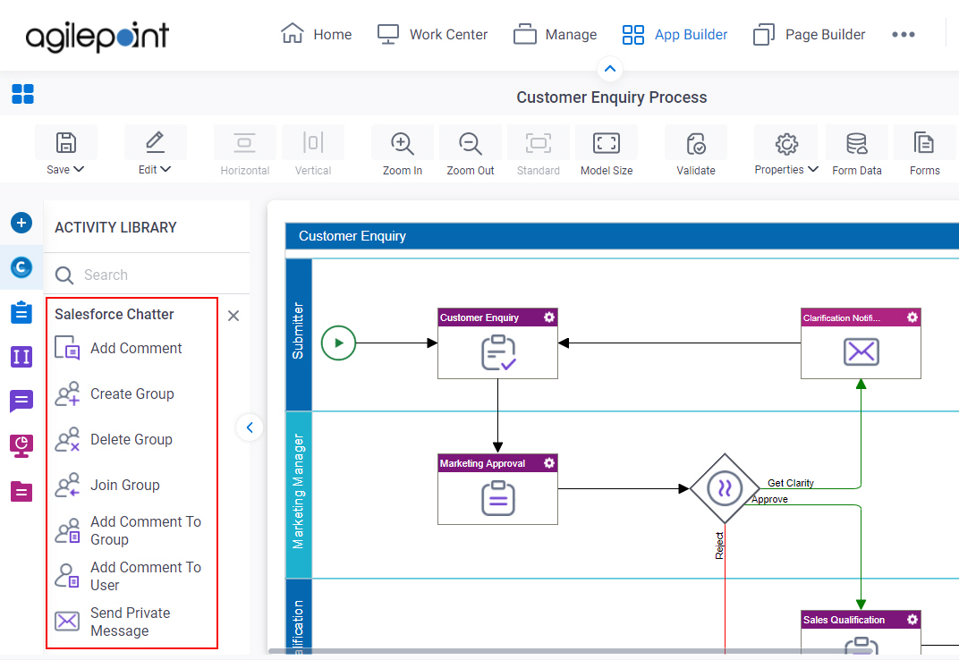 Process Activities for Salesforce Chatter