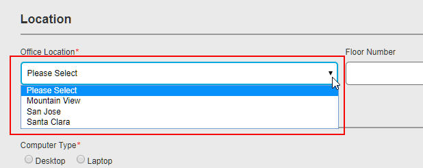 A drop-down list populated from a lookup